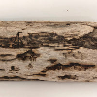 Pyrography Seascape on Driftwood with Lighthouse and Boats