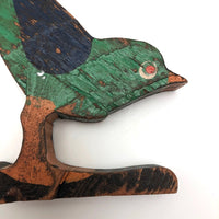 Green Standing Bird with Orange Feet by Canadian Folk Artist Yves Robitaille