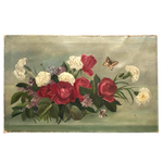 Roses, Carnations, Lilac and Butterfly Old Oil on Canvas Painting