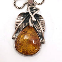 Amber and Silver Vintage Pendant Necklace with Leaf Design