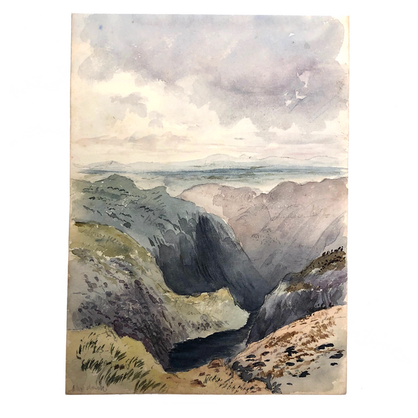 Victorian Watercolor of Small Tarn near the Summit of Nan Bield Pass, Lake District, 1861