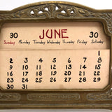 Art Nouveau Brass Perpetual Calendar with Handwritten Inserts