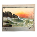 James F. Sowter, Sunset Over Choppy Sea, Trompe L'Oeil Watercolor, 1907