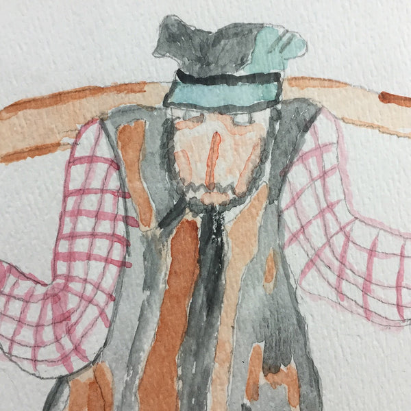 Tevye the Milkman Watercolor Drawing