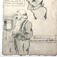 Patience! 50 Years Waiting for a Letter, Pencil Drawn Postcard, 1908