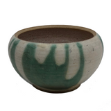 Lovely Green and White Glazed Handthrown Small Pottery Bowl