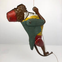 Antique Original Lehmann Tin Litho Toy Climbing Monkey c. 1900