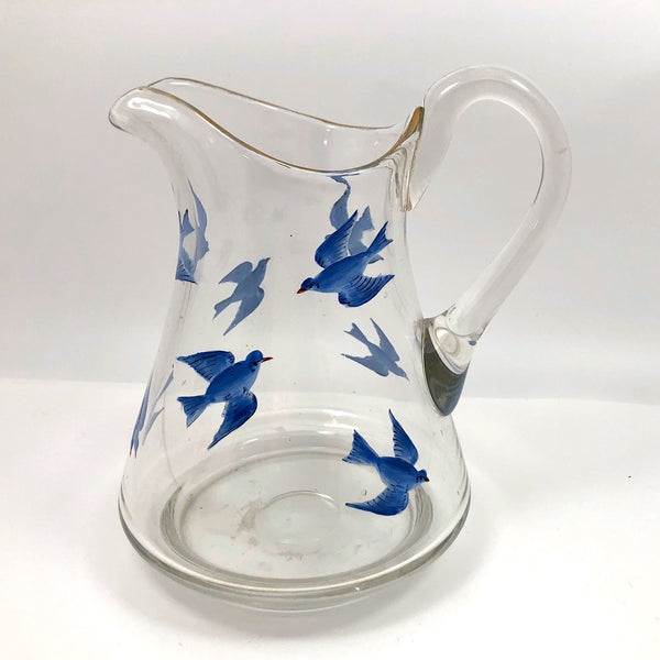 Antique Hand-Painted Bluebird Pitcher