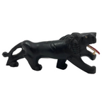 Carved African Ebony Lion with Bone Teeth and Tongue