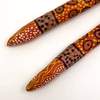 Australian Aboriginal Orange Painted Clap Sticks
