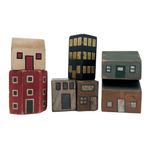 Sweet Set of Hand-painted Wooden Houses and Buildings