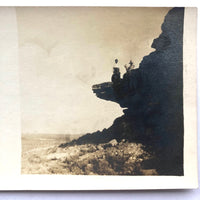 Couple with Dog on Rock Ledge, Old Real Photo Postcard