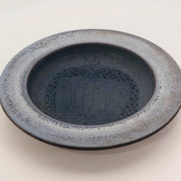 Edwin and Mary Scheier Blue Glazed Studio Pottery Dish with Two Faces
