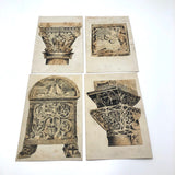 Set of Four Antique Ink Drawings of Architectural Details in Ravenna and Istanbul