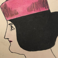 Chic Woman in Pink Hat Hand-drawn Ink with Watercolor Postcard
