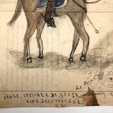 Pierre Albert Leroux Ink and Watercolor of French Officer on Horseback