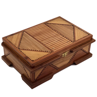 Two-Toned Wood Tramp Art Jewelry Box