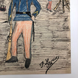 Pierre Albert Leroux Drawing of French Soldier at Camp, 1908