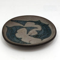 Mid-Century Scandanavian Pottery Plate with Circling Fish