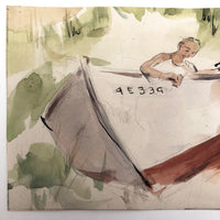Small Watercolor of Man Working on Boat