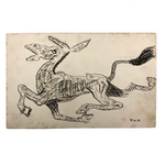 Charging Donkey, Early 20th Century Hand-drawn Pen and Ink Postcard