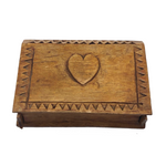 Sweet Hand-carved Heart and Clover Little Slide Top Box