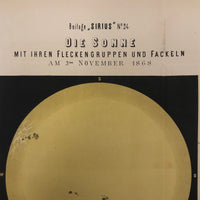 Sun Spots, from Austrian Journal of Popular Astronomy, 1876 Color Lithograph