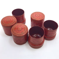 Set of three Cinnabar Burmese Lacquer Betel Boxes