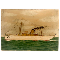 Old Oil on Cardboard Painting of Single Funnel Steam Ship