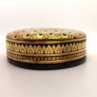 Striking Gold and Black Round Lidded Burmese Lacquer Box