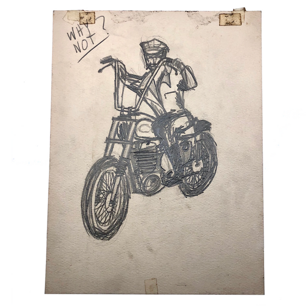 Why Not? Vintage Man on Motorcycle Graphite Drawing on Board