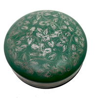 Green and Silver Round Lidded Burmese Lacquer Box with Incised Flowers and Vines