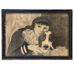 SOLD (hold FM) Fantastic Late 19th Century Large Charcoal Drawing of Girl and Dog