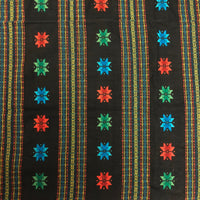 South American Vintage Woven Cotton Textile with Star and Stripe Pattern