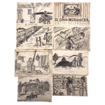 Life of Jim Stubbs, 8 Sequential Narrative Drawings, Missouri to Virginia, early 1900s