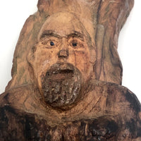 Carved Old Wooden Mountain Man Hermit with Bark