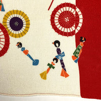 Japanese Wrapping Cloth: Red and White Parasol Print