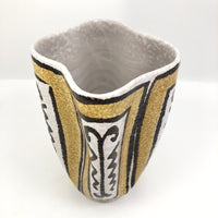 Mid-Century White, Mustard and Brown Italian Pottery Vase with Undulating Form