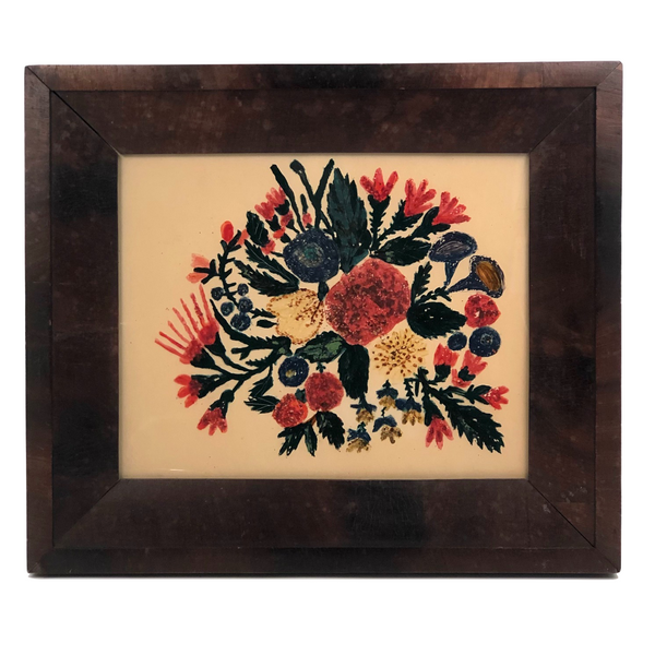 Wonderful Antique Folk Art Reverse Glass Painting of Flowers