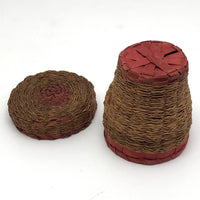 Small Wabanaki Sweetgrass and Dyed Ash Splint Lidded Basket with Cup