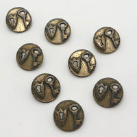Gold Toned Old Lock and Key Buttons - Set of Eight