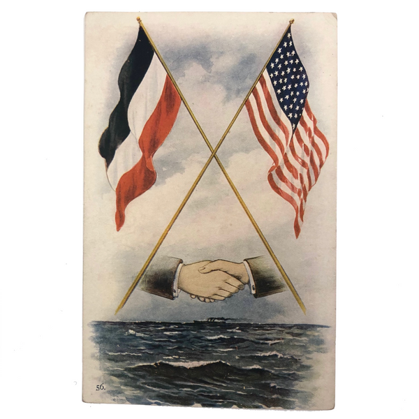 Crossed French and American Flags Antique Postcard