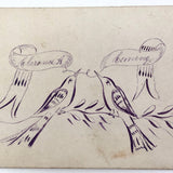 Hand-drawn Pen and Ink Antique Calling Card with Two Birds