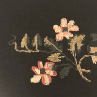 Sweet Old Floral Petit Point on Dark Blue Wool