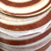 Cream and Rust Swirl Hand-thrown Ceramic Lidded Jars or Canisters - Set of 4