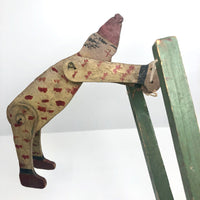 Polka Dot Painted Large Handmade Wooden Clown Acrobat Squeeze Toy