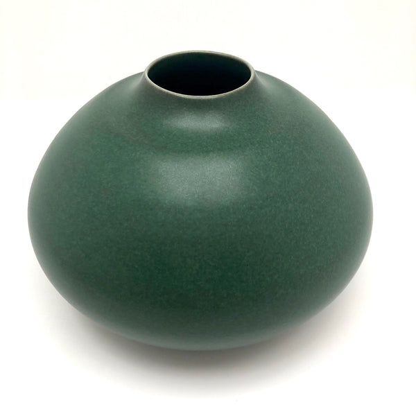 Gorgeous Green Glazed Hand-thrown Porcelain Vase, Signed KD