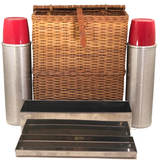 Vintage 1940s Abercrombie and Fitch Picnic Basket Set, Made in England
