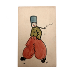 Dutch Boy Smoking Pipe, Hand-drawn Watercolor Postcard, 1924