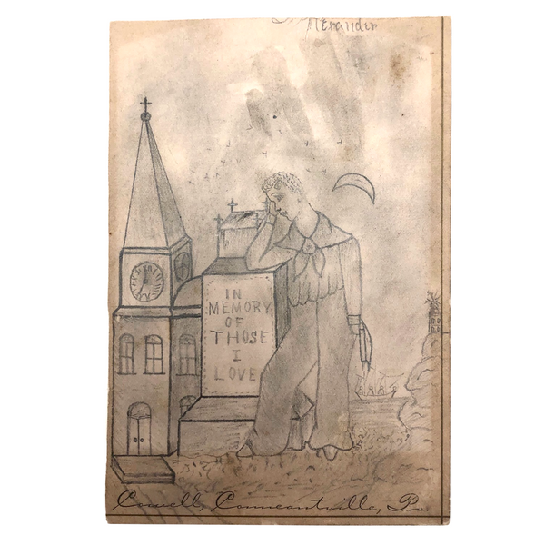 Mourning Sailor Antique Pencil Drawing, Conneautville, Pennsylvania